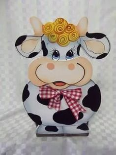 Wood Crafts, Diy And Crafts, Arts And Crafts, Paper Crafts, Tole Painting, Painting On Wood, Cow Craft, Pot A Crayon, Country Paintings