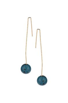 Turquoise Bead and Thread Through Earrings