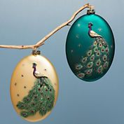 Glass Painted Peacock Ornaments, Set Of 2