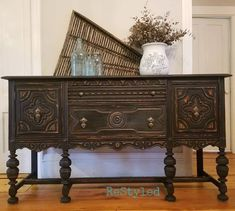 Items similar to SOLD***Large Jacobean Buffet Sideboard, black, carved, large buffet on Etsy Raw Furniture, Stripping Furniture, Painted Furniture, Furniture Ideas, Furniture Makeover, Antique Furniture, Furniture Stencil, Refurbished Furniture, Furniture Inspiration