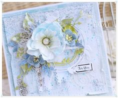 Scrapbooking, handmade cards and papercrafts by Lady E. Vintage, chipboards, shabby and more. Shabby Chic Cards, Pretty Cards, Handmade Flowers, Paper Piecing, Diy Wall, Handmade Cards, Birthday Cards, Card Making, Scrapbooking