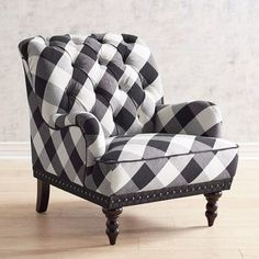 Come home to a comfortable seat, offered here in a timeless buffalo check. Overstuffed and hand-tufted, our Chas Armchair comes with vintage charm to spare: Rolled back and arms, hand-applied nailhead trim, black piping and turned hardwood legs. Furniture, Farm House Living Room, Home Furniture, Chic Decor, Black And White Decor, Chair, Home Decor, Buffalo Check Chair, Shabby Chic Homes