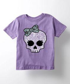 Lavender Skull & Bow Tee - Toddler & Girls by LC Trendz #zulily #zulilyfinds