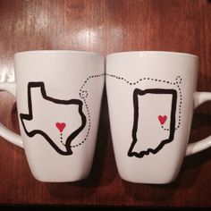 Long distance Relationship Coffee Mugs by HandmadeGiftsMolly, $20.99