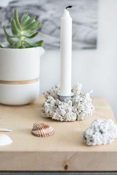 s i n n e n r a u s c h: [Nachmachtipp] Korallen Kerzenständer aus Naturschwamm