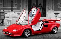 1985 Lamborghini Countach - I was a kid when this car came out and I remember thinking it was the coolest car I have ever seen. Probably the most iconic exotic sports car of all time. Lamborghini Diablo, Lamborghini Huracan, Ferrari, White Lamborghini, Dream Cars, Exotic Sports Cars, Exotic Cars, Sweet Cars, Top Cars