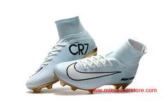 2017 Nike Mercurial Superfly CR7 Vitorias FG Flyknit ACC White Gold  Women  s Soccer 83c7ccaa86bad