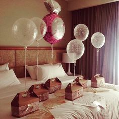 #Obsessed with this cute bridesmaid gift idea. Or any cute bridesmaid gift idea for that matter! Fill each box with goodies like mini prosecco or a wedding morning silk robe and tie on a helium balloon. Adorable in an instant, and not too pricey! #weddingideas #weddinggift #scottishweddings #scottishwedding #bridesmaid #bridesmaidgift [image via #pinterest]