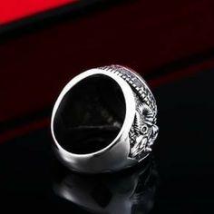 Retro black stone titanium steel ring for men with ram engraving