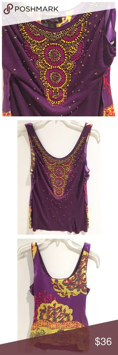 HALE BOB • Beaded top Gorgeous beaded tank from Hale Bob. The back is a colorful patterned silk/spandex and the front is a purple rayon with metallic and colored beading throughout. This top is a standout! Hale Bob Tops