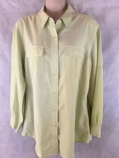 Jones Wear Green Sport Shirt  Long Sleeve Button Down - Size 8 Rayon Blend #JonesWearSport #ButtonDownShirt
