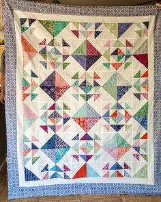 "Sweet Treat Quilt.  I have one kit left for this bright and easy quilt.  It's made with Miss Rosie's Cake Mix Recipe #1 and Kate Spain's Layer Cake Latitude Batiks. Mixed with Moda's Bella White the colors just pop! Quilt measures 78"" by 94"", kit includes 2 layer cakes, fabric for borders and binding, Cake Mix Recipe #1 and block layout from Missouri Star Quilt Co. $113.50 plus shipping. PM me if interested. #sewbellasquiltcart #mobilequiltstore #cakemixrecipes #katespainfabric…"