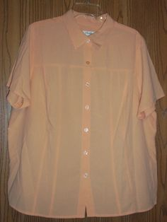 C.J. Banks Button Front Short Sleeve Shirt Top Orange Size 2X  #CJBanks #ButtonDownShirt #Casual