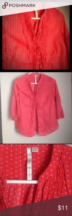 LC button up shirt Cute button up shirt, I love the little ruffles at the v-neck. I have this shirt in two other colors, really doesn't need ironed. Sleeves can be rolled up or left down. A red/ pink color but not quite as bright as coral., new pics in sunlight LC Lauren Conrad Tops Blouses