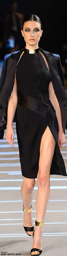"Alexandre Vauthier A/W 2013-14: sheath dress, halter neck, high side slit, wide sash ""belt"""