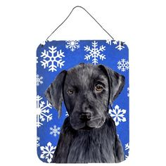 Labrador Winter Snowflakes Holiday Aluminium Metal Wall or Door Hanging Prints, Size: 16, Multi-color