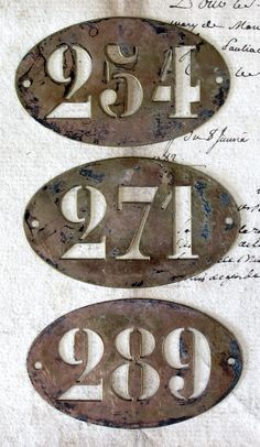 Antique French Copper/Brass Stencil Plaque Numbers by OscarNaylor, $17.50