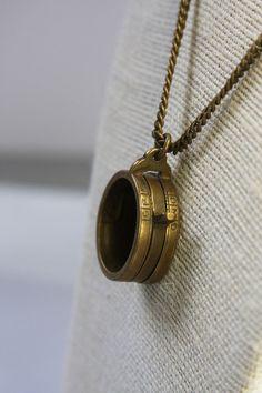 Vintage BRASS LOUPE Necklace Falguera Movable by VintageSupplyCo
