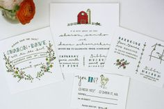 Rustic Illustrated Wedding Invitations from Printerette Press. Available at Ceremony Boston // www.ceremony-boston.com