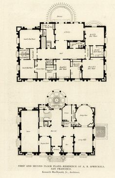Floor plans of the Spreckels Mansion, San Francisco