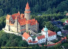 Bouzov Castle,  between Hvozdek and Bouzov, Moravia, Czech Republic....     .http://www.castlesandmanorhouses.com/photos.htm   ...    Bouzov Castle (Czech: Hrad Bouzov) built on a hill, is first mentioned in 1317. In 1558 the castle burned down. In 1696 the barony was bought by the Grand Master of the Teutonic Order. The Grand Master from 1799 to 1839, Archduke Eugen Habsburg, decided to rebuild it in a Romantic, Neo-Gothic style.