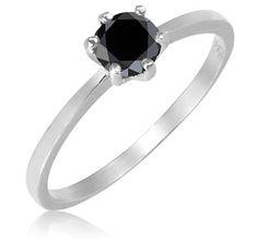 $49.99 - 3/4 Carat Black Diamond Sterling Silver Ring