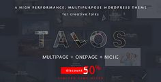 Discount $29 instead $59 and get all demos, Limited time offer, Ends at 23:59 12/03/2017 AEDT. Talos is a Modern and Creative premium WordPress Theme . It is suitable for Personal Portfolio, Creative Agency, Designer Portfolio, Illustrator Portfolio, Photographer Portfolio and more.Theme has a universal design, it thought every detail and animation effect.