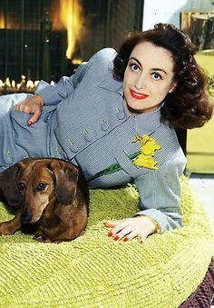 Joan Crawford with dachshund