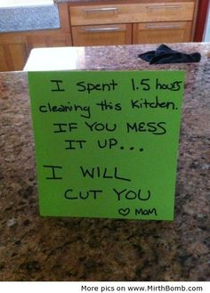 I actually leave notes like this...only 1 of my kids never gets cut:)