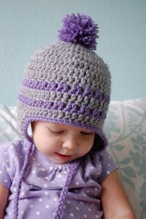 Alli Crafts: Free Pattern: Earflap Hat - 9-12 Months 5mm hook Worsted weight yarn http://allicrafts.blogspot.com/2011/12/free-pattern-earflap-hat-9-12-months.html