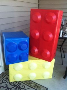 Lego boxes...empty cardboard boxes, wrapped in plain wrapping paper with inverted plastic bowls attached. #ad