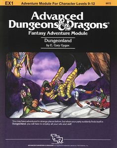 EX1 Dungeonland (1e) | Book cover and interior art for Advanced Dungeons and Dragons 1.0 - Advanced Dungeons & Dragons, D&D, DND, AD&D, ADND, 1st Edition, 1st Ed., 1.0, 1E, OSRIC, OSR, Roleplaying Game, Role Playing Game, RPG, Wizards of the Coast, WotC, TSR Inc. | Create your own roleplaying game books w/ RPG Bard: www.rpgbard.com | Not Trusty Sword art: click artwork for source