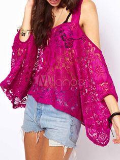 Quente Floral laço Backless impressão Bateau pescoço laço camiseta para mulheres - Milanoo.com