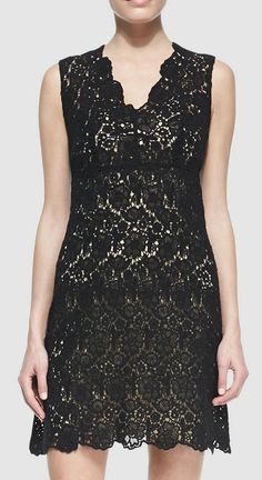 Cusp  Diane von Furstenberg - Hippolyte Sleeveless V-Neck Lace Cocktail Dress, Black