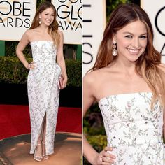 Melissa Benoist - Vestido Monique Lhuillier - Golden Globes Awards 2016