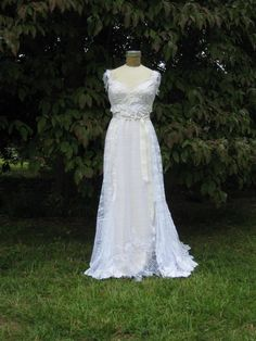 Hippie Lace Collage Gown in White One of a Kind by hippiebride, $1095.00