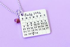 Hand Stamped Save the Date Calendar Necklace with Birthstone Stainless Steel Chain - Hand Stamped Jewelry