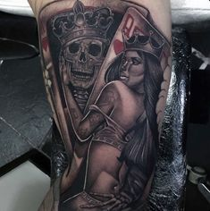 King With Queen Guys Playing Card Arm Tattoo Arm Tattoo, Sleeve Tattoos, Girl Tattoos, Tattoos For Guys, Playing Card Tattoos, Poker Tattoo, Cool Playing Cards, Pineapple Images, Casino Theme Parties