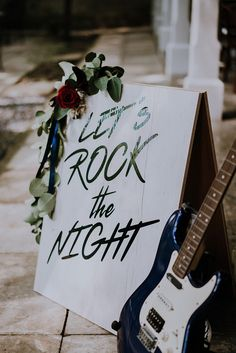 Jewelled deep red rose with lots of greenery an electric font and guitar that shows what rock 'n roll is all about // It?s not everyday you see a true rock n? roll bride so we're excited to be featuring this beautifully unconventional styled shoot! Wedding Music, Wedding Signs, Dream Wedding, Wedding Day, Punk Rock Wedding, Music Themed Weddings, Wedding Vows, Guitar Wedding, Edgy Wedding