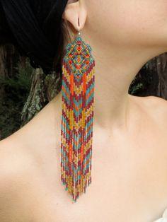 Niamh...Fractal Seed Bead Earrings, shoulder duster, native american, boho, tribal, intricate beadwork, long fringe, southwestern, gypsy