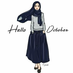 Hello october Let's do the best & be happy! Commission for Lovely beads shawl! Girl Hijab, Hijab Outfit, Ootd Hijab, Muslim Girls, Muslim Women, Modest Fashion, Hijab Fashion, Hijab Drawing, Anime Muslim
