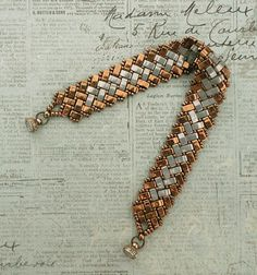 Linda's Crafty Inspirations: Bracelet of the Day - Half Tila Herringbone - Bronze & Grey