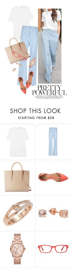 """workwear style"" by reginakos ❤ liked on Polyvore featuring Victoria Beckham, ADAM, Balenciaga, Christian Louboutin, Calvin Klein, Kate Spade, Elora, Michael Kors, GlassesUSA and WorkWear"