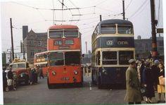Trolley buses at Ashton under Lyne market circa 1960