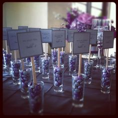Seating assignments and wedding favors - I love it when things do double duty!