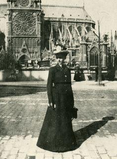 Detail of photographic portrait of Julia Morgan, at Notre Dame, Paris, 1901