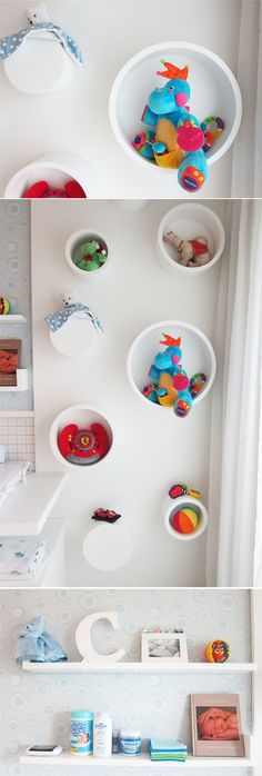 Baby bedroom.  Love these round shelves for toys!!