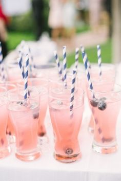 Have a customized signature drink for your wedding reception! Love those glasses!
