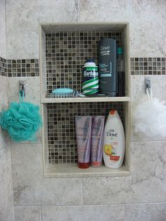 Shower niche His and her shower storage and hooks Taupe Bathroom, Bathroom Renos, Bathroom Interior, Bathroom Showers, Bathroom Ideas, Shower Storage, Shower Shelves, Diy Storage, Shower Niche