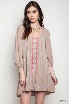 Umgee Drop Waist Dress Peasant Tunic Boho S M L Casual Mini 3/4 Boutique Blouse  #Umgee #ShirtDress #Casual